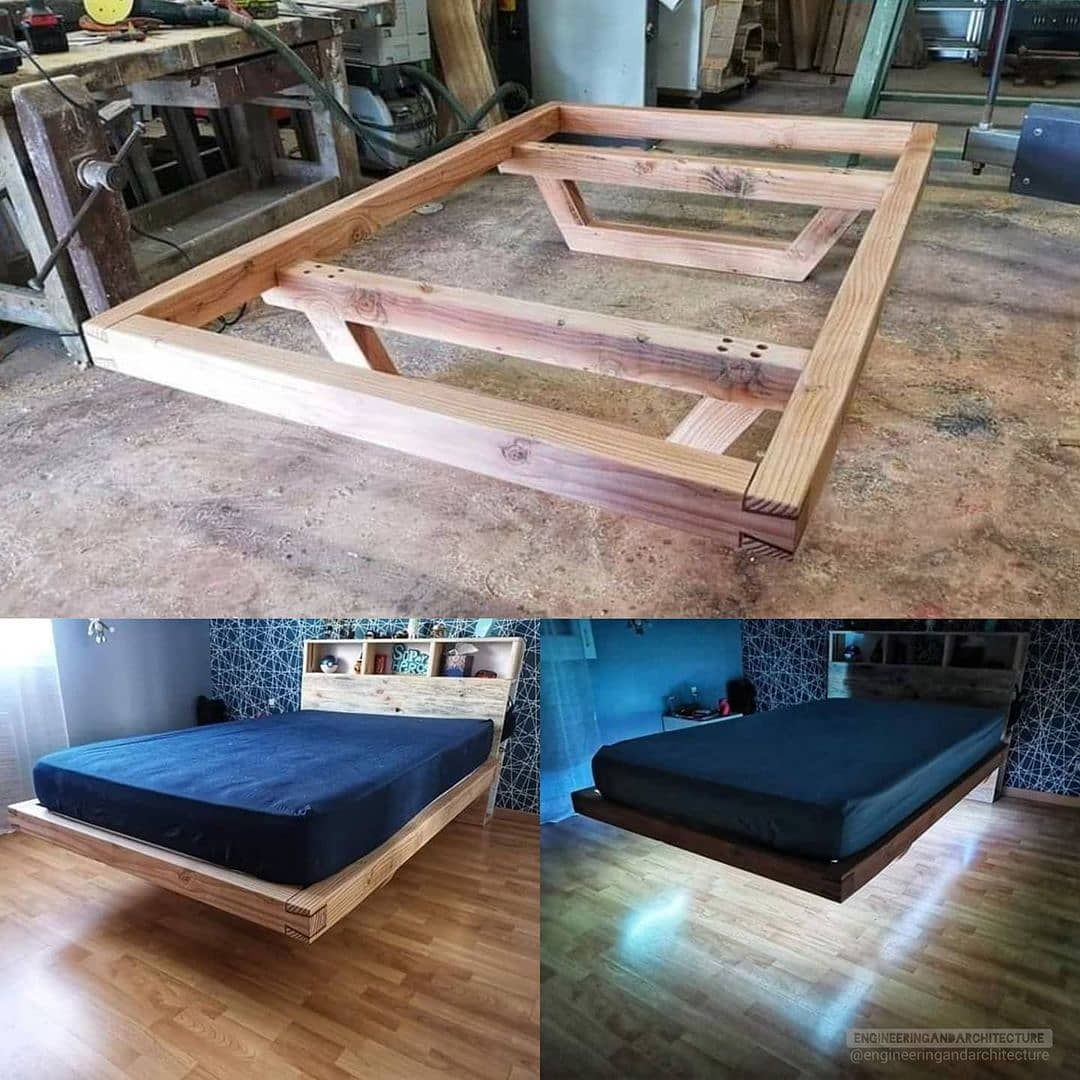 Engineering Verse Engineering Verse Posted On Instagram Wooden Floating Bed Frame What Do You Think In 2021 Floating Bed Frame Bed Frame Design Bed Frame Plans