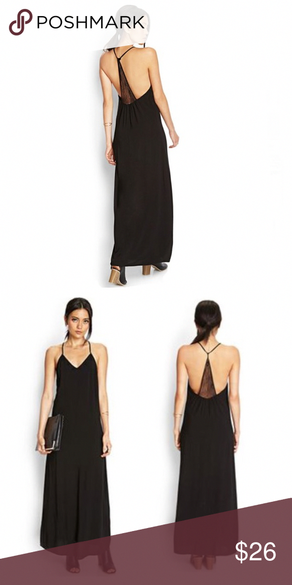 656e5e49348 ♤️HP♧ Back Laced Trim Maxi Dress Gorgeous NWOT black maxi dress. No slip.  Beautiful lace detail on the back. Can be dressed up or down!