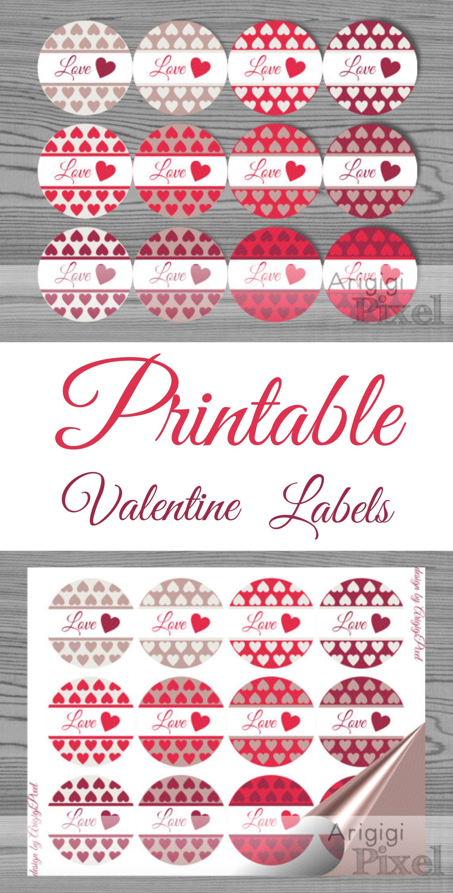 Printable Valentines Day Label Template Love Round Stickers Etsy Valentines Gift Tags Red Heart Stickers Valentines Printables