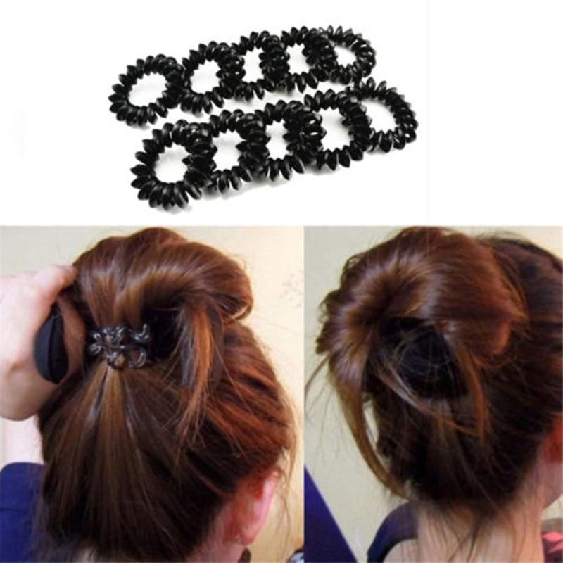5pcs Black Telephone Wire Line Elastic Bands For Hair Ties Spring