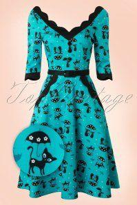 33a587067a85 Vixen 50s Jade Blue Cat Umbrella Dress 102 39 17962 20160215 0010WV ...