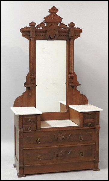 1171125 Eastlake Marble Top Vanity Furniture Victorian