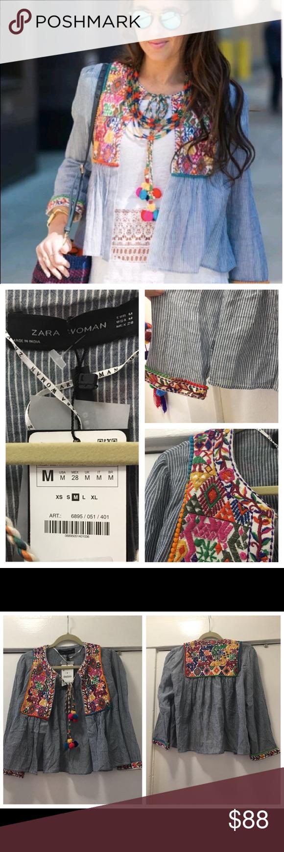 Zara Nwt Embroidered Pom Pom Jacket Size Medium Super Cute Summer