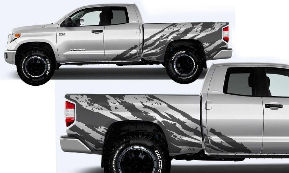 Cool Awesome Vinyl Decal Shred Wrap Kit For Toyota Tundra Trd Double Cab 2014 17 Nimbus Gray 2017 2018 Toyota Tundra Toyota Tundra Trd Trucks