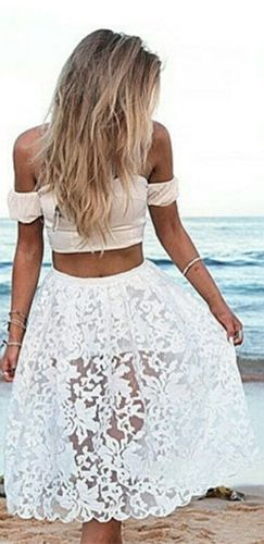 d7eb428bc13f0c La La Land White Off The Shoulder Crop Top Sheer Lace A Line Midi Skirt Two  Piece Dress