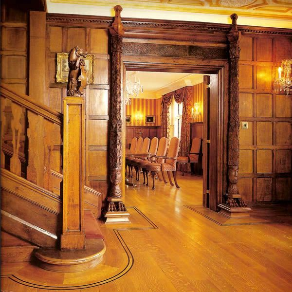 modern panelling: oak tudor style panelling with skirting and