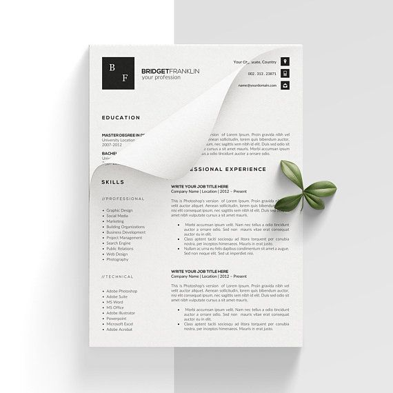 Modern Resume CV Template Creative Resume MS Word Resume Pages - resume 1 or 2 pages