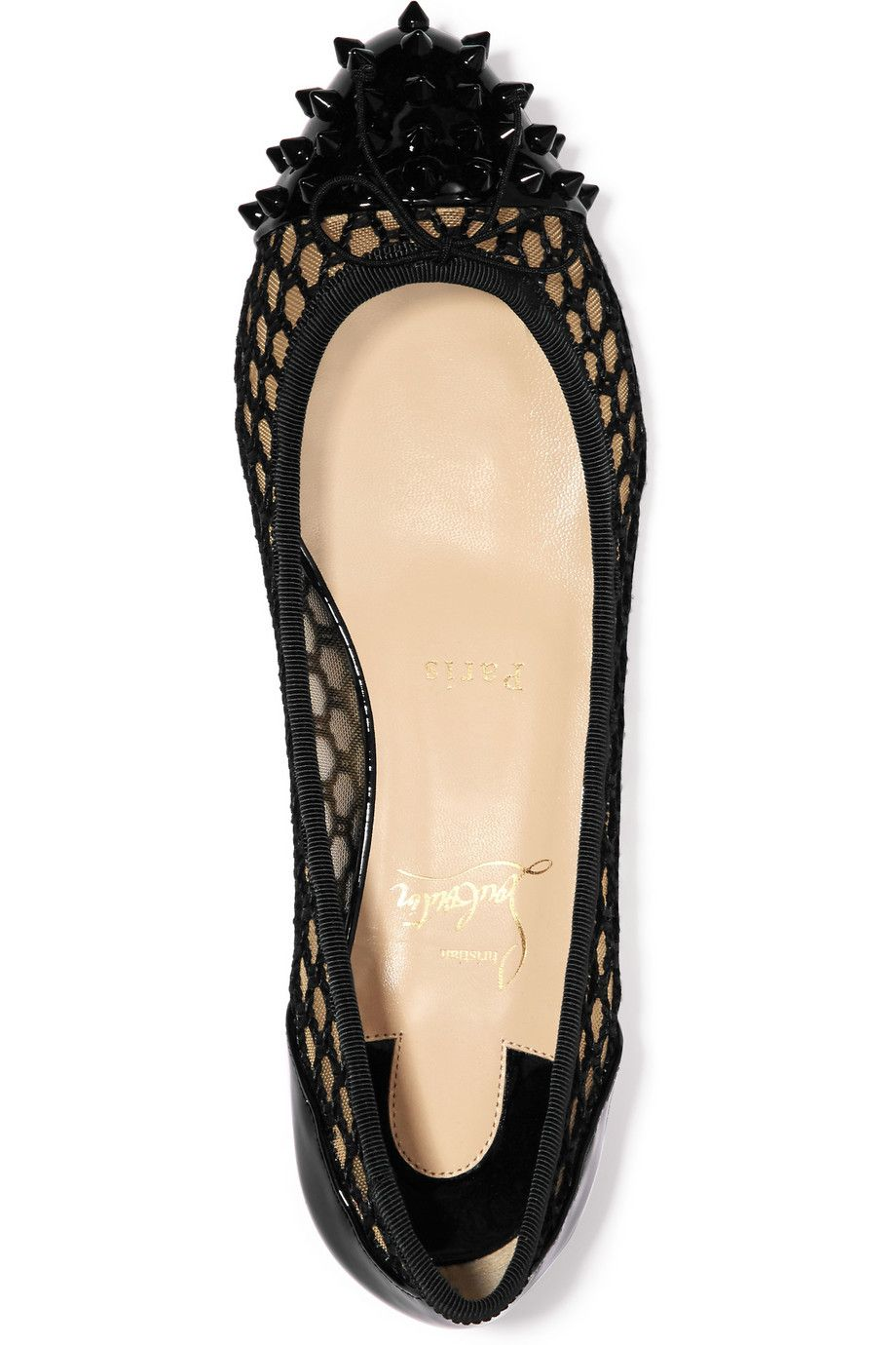 cf5708d876 Christian Louboutin | Mix spiked patent-leather and embroidered mesh  point-toe flats | NET-A-PORTER.COM