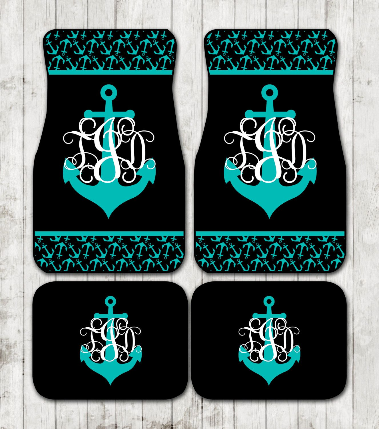 Nautical Monogram Anchor Car Floor Mats Anchors Personalized Custom Monogrammed Gifts Cute Accessories For Women Carmats Decor By Chicmonogram
