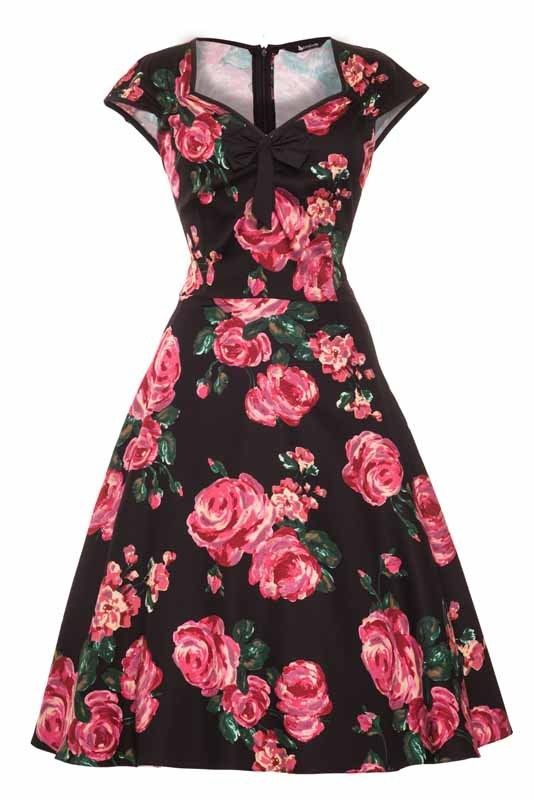 50eb720a6525 LADY VINTAGE 50's Black & Pink Rose Floral ISABELLA Dress Retro Size 18 in  Clothes, Shoes & Accessories, Women's Clothing, Dresses | eBay