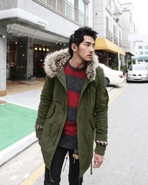 Mens Parka Coat Leopard Hooded Zipper Button Long Elastic Belt Men ...