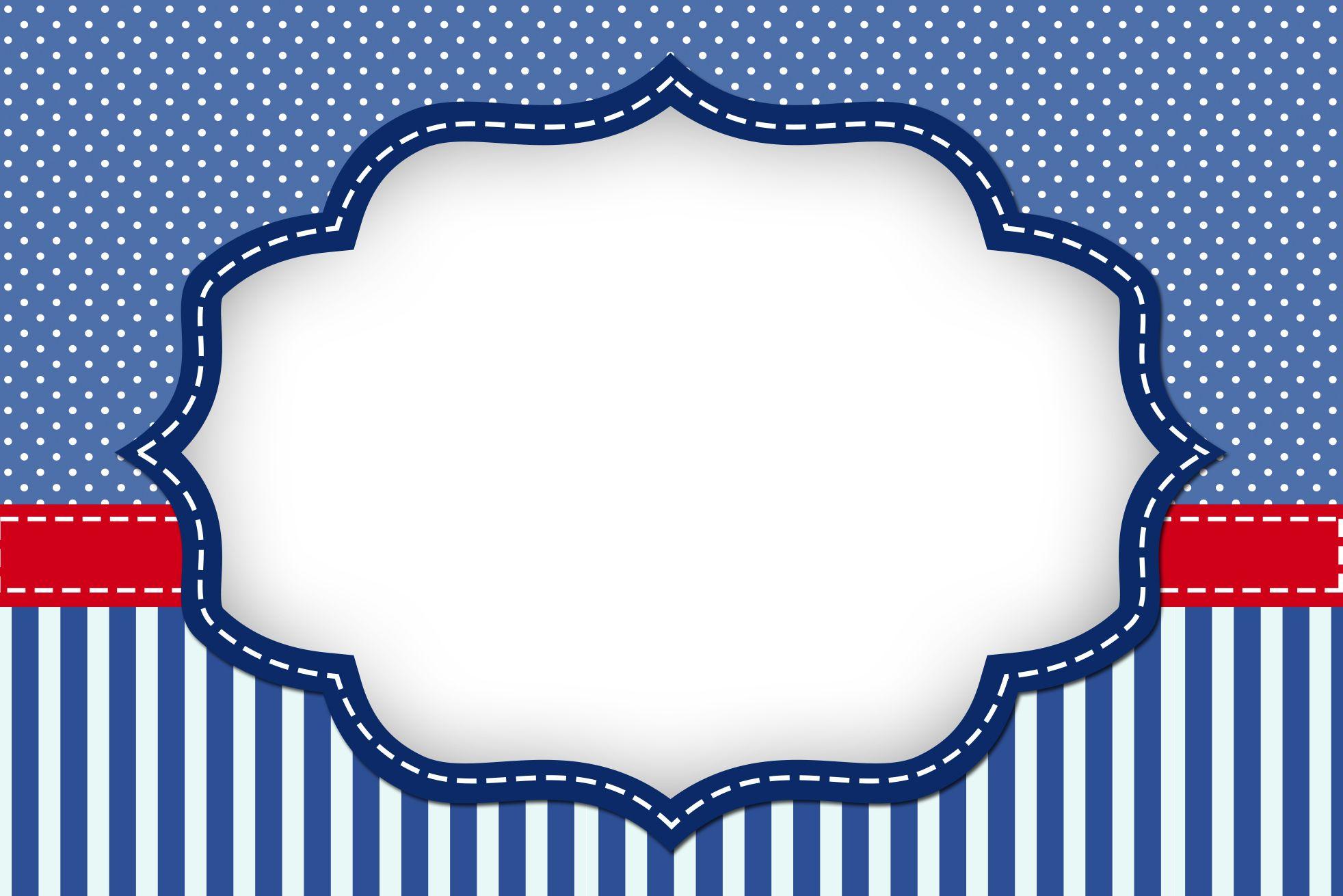 Kit Digital Completo Poa Azul E Listras Convite Molduras Para