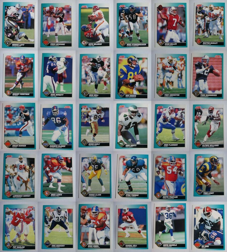 1991 score supplemental football cards complete your set u