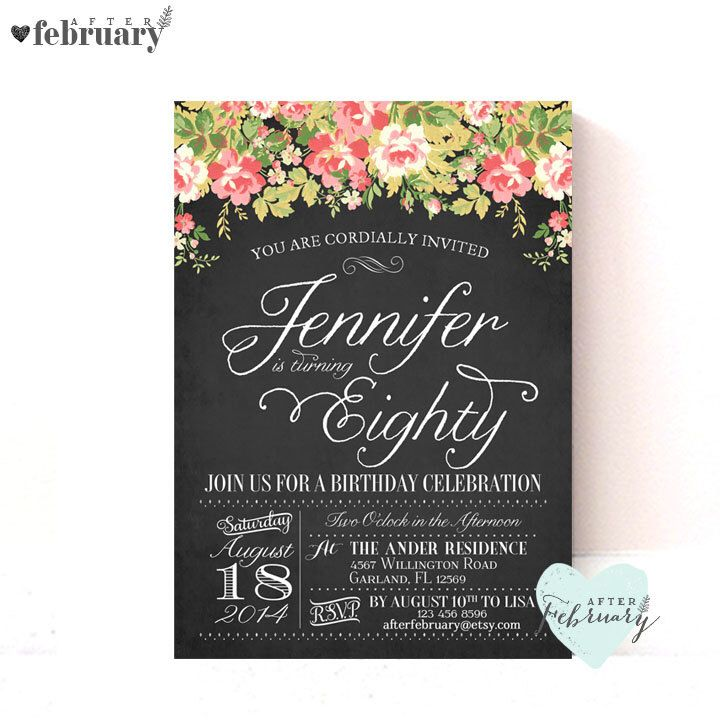 happy birthday invitation pictures%0A   th Birthday Party Invitation  ANY AGES  Adult Birthday  Vintage Floral   Charcoal Black