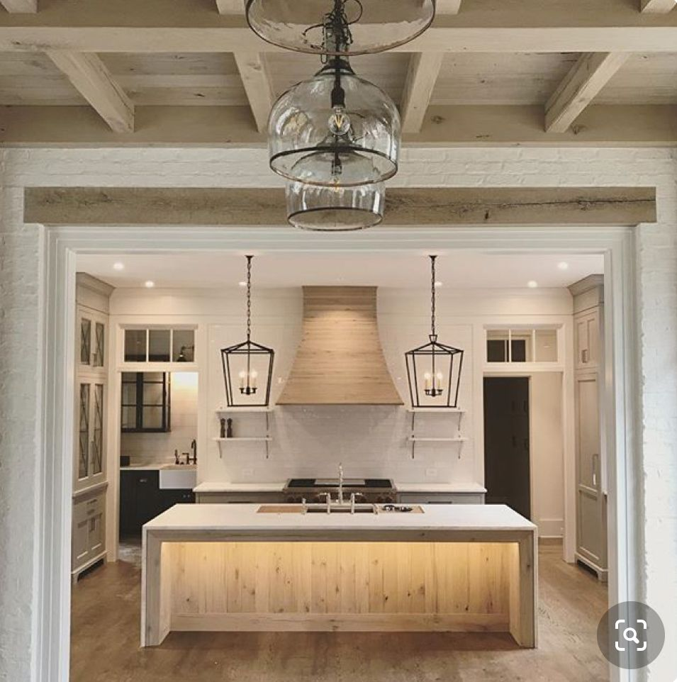 Under Counter Rope Lighting Illuminates Waterfall Island Barstool Alcove Black Framed Candle Type Modern Fa In 2020 Home Decor Kitchen Kitchen Remodel Kitchen Design