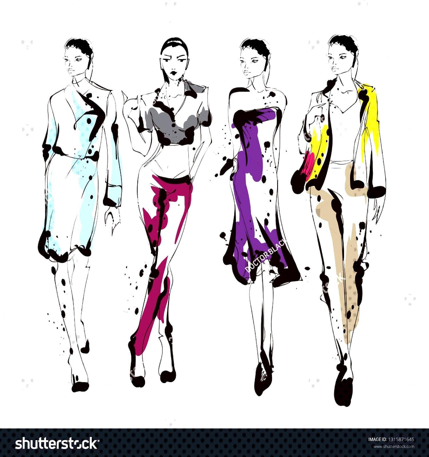 Stylish fashion models. Pretty young girls. Fashion womans Sketch ,