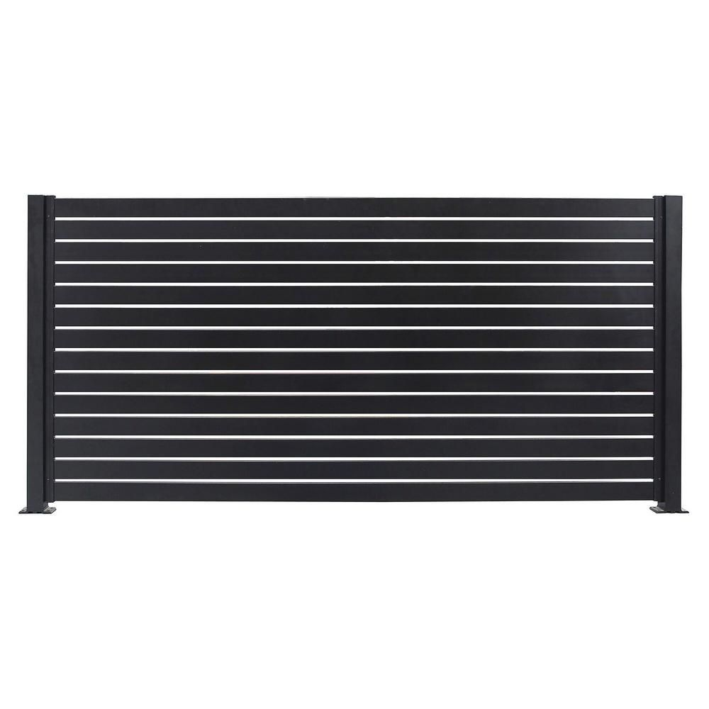 Stratco Quick Screen 7 83 Ft X 5 91 Ft X 0 20 Ft Aluminum Slat Kit In Black For Fence Panels Sc 10666 The Home Depot In 2020 Metal Fence Panels Fence Panels Aluminum Fencing