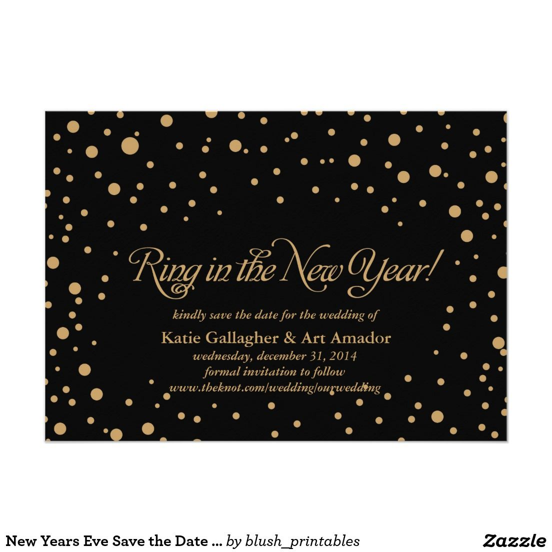 New Years Eve Save The Date Announcement 5 X 7 Invitation Card