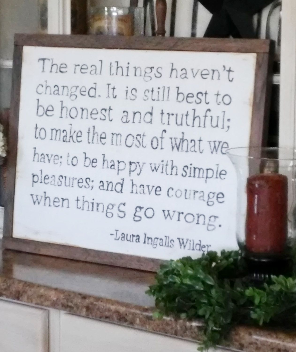 Laura Ingalls Wilder Quote Wood Framed Sign by WillowHillSigns on Etsy