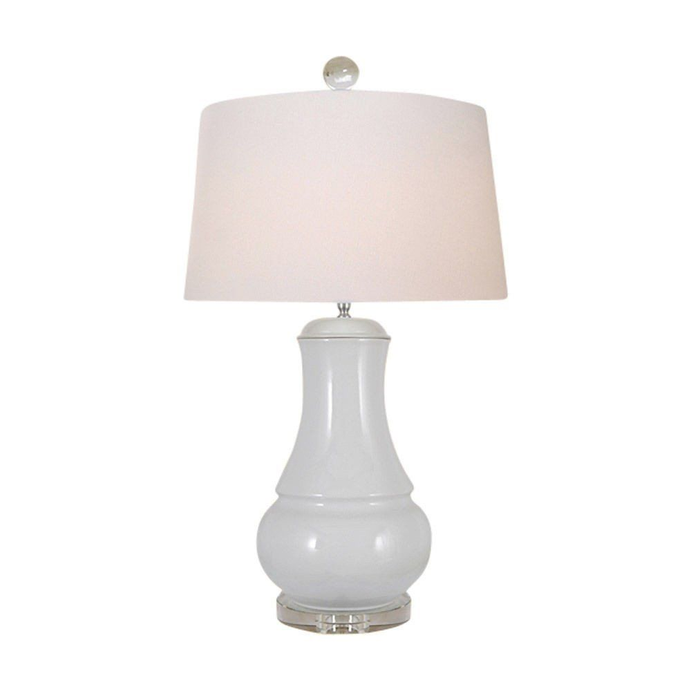 Beautiful White Porcelain Vase Clear Base Table Lamp 30 Lighting