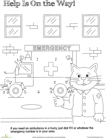 Ambulance Dot To Dot Worksheet Education Com Community Helpers Preschool Ambulance Addition Activities Preschool