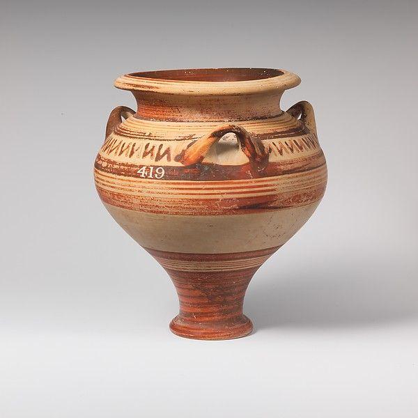 Terracotta pithoid jar Period: Late Helladic III Date: ca. 1400–1050 B.C. Culture: Mycenaean Medium: Terracotta