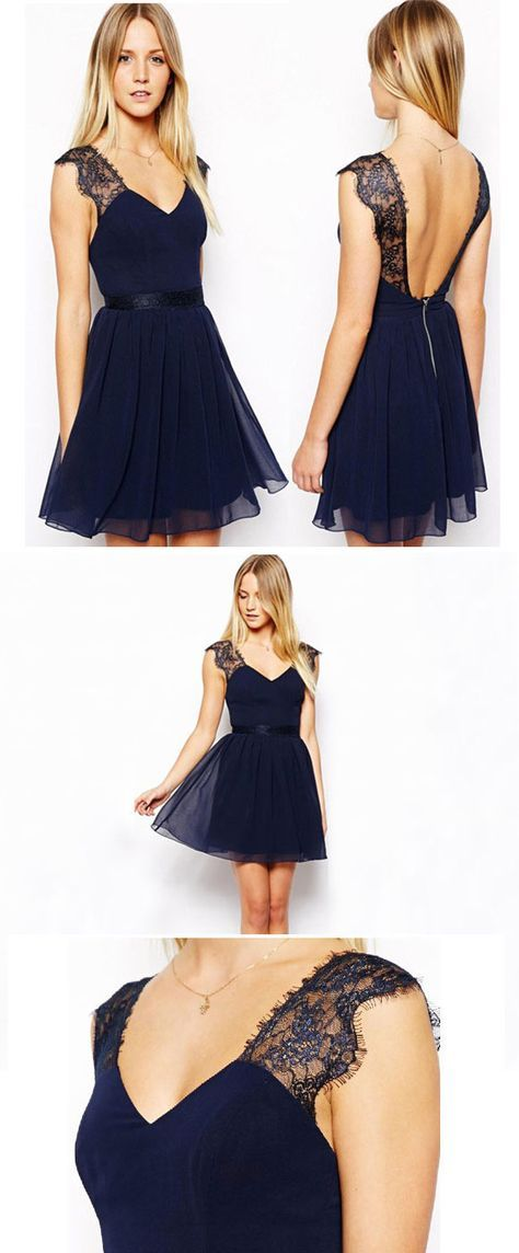 3e894df24709 Found a pretty Sexy Navy Blue Lace Backless Chiffon Dress! #dress #party # blue #lace #pretty #cute #skirt