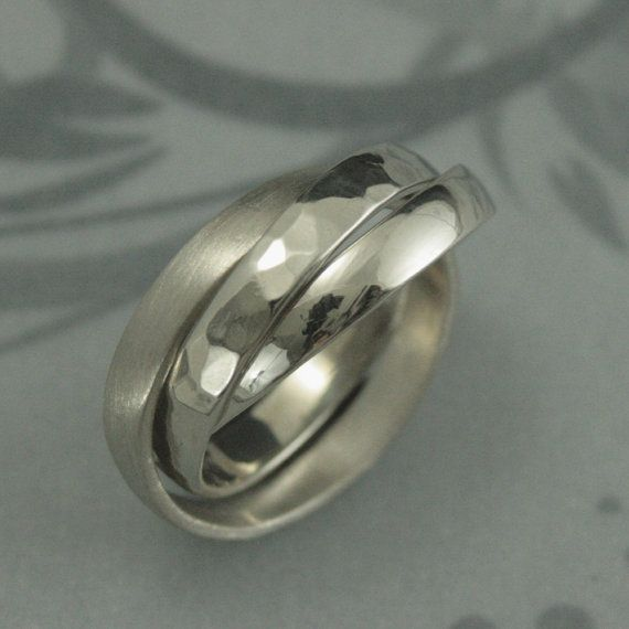 Solid 14K White Gold Rolling RingRussian Wedding Band