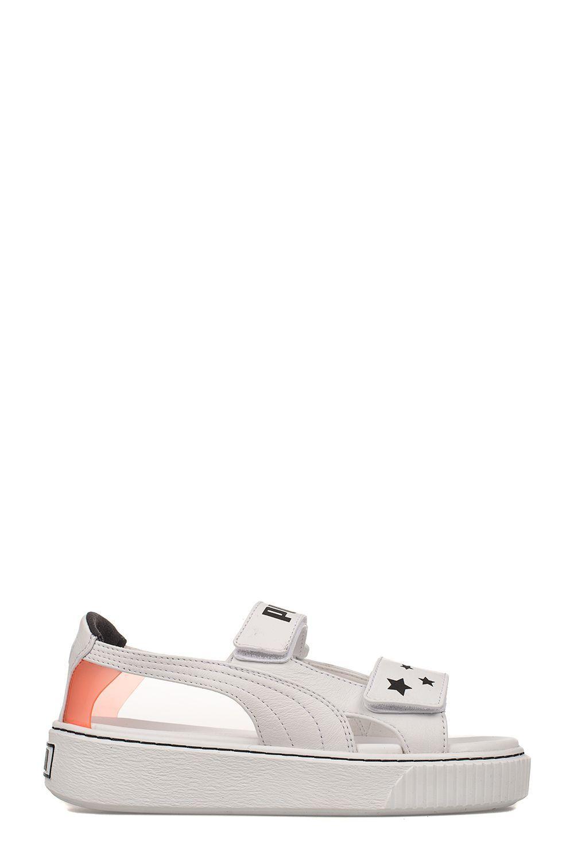 3ea8e001537e PUMA WHITE PLATFORM LEATHER SANDAL.  puma  shoes