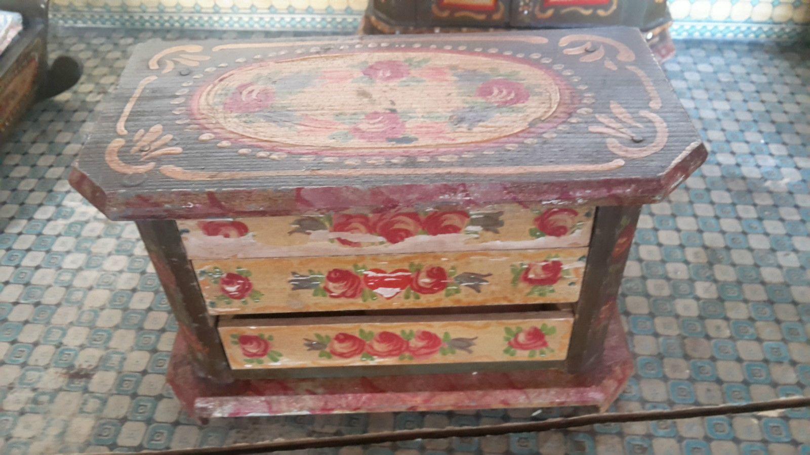 Puppenhaus Schlafzimmer Puppenstube antik um 1900
