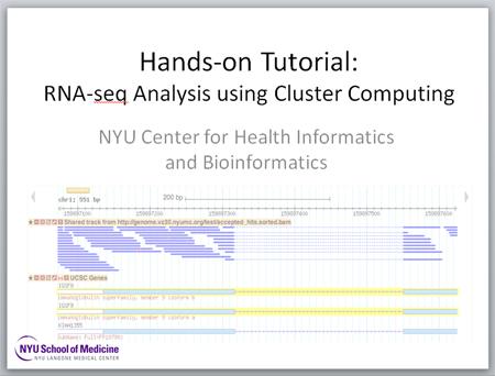 Hands-on Tutorial: RNA-seq Analysis using Cluster Computing