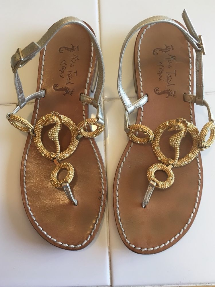 8722ba7111fb2a MISS TRISH of CAPRI Gold Rhinestone Seahorse Thong Flat Sandals Sz  37.5 US7.5  fashion  clothing  shoes  accessories  womensshoes  sandals  (ebay link)
