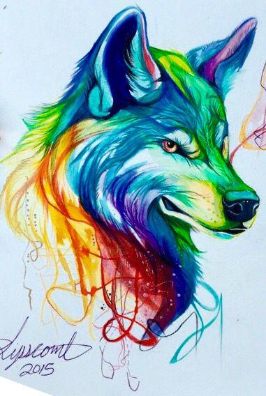 Wolf Painting Drawing In Rainbow Colors Diseños Arte De Lobos