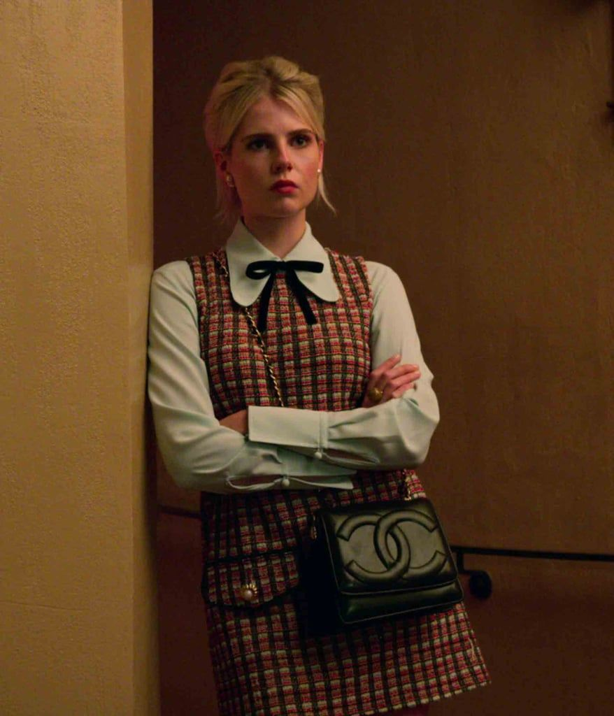 Astrid Sloan in a Zara dress and Chanel bag on The Politician season 1