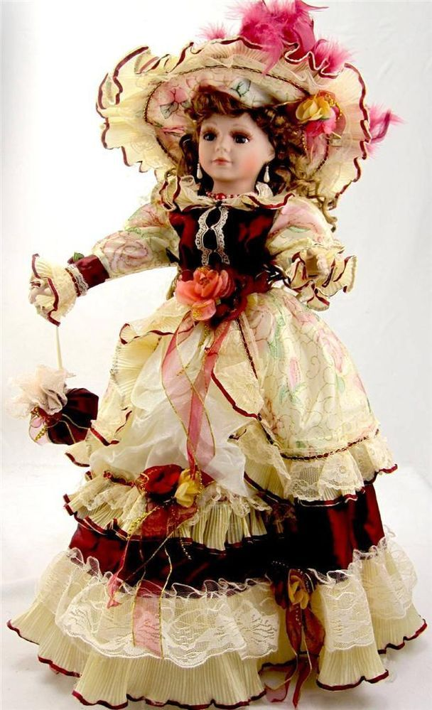 Collectible Porcelain Victorian Princess Doll Red And Gold Dress Brunette 22 Quot H Victorian Dolls