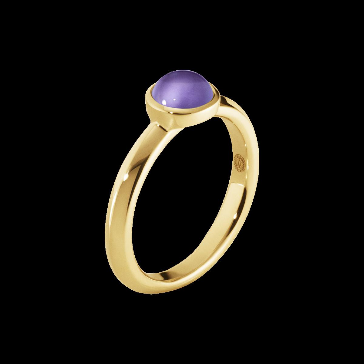 MOONRISE ring - 18 kt. guld med 6 mm ametyst