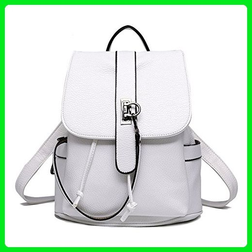 f1f9d19153c1 Hynbase Women Mini Leisure Cute Leather Schoolbag Backpack Shoulder Bag  White - Shoulder bags ( Amazon Partner-Link)