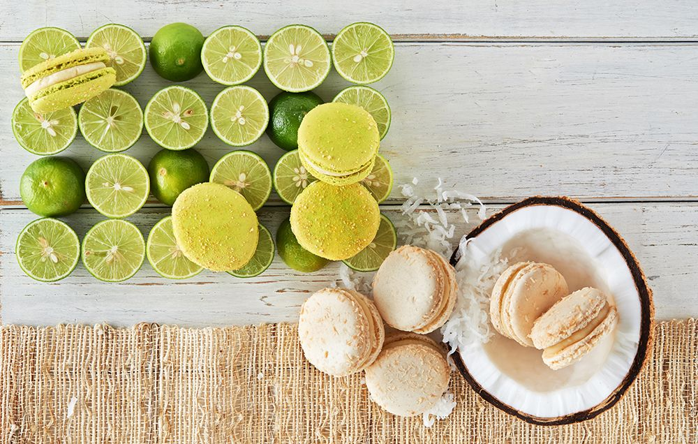 Key Lime and Coconut Cream Macarons make the perfect island-themed summer treat. http://www.shopsucre.com/seasonal/limited-edition-macarons-by-tariq-15-piece.html