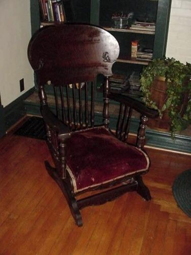 Rare Victorian Antique Oak A H Schram Rocking Chair