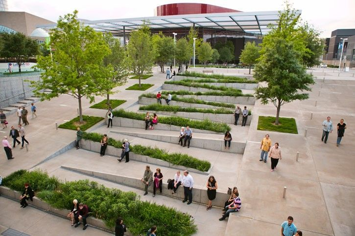 At t performing arts center sammons park landscape for Dining near at t park