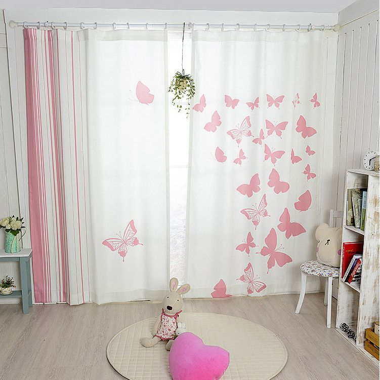 New Korean pink butterfly blackout curtains finished curtain ...