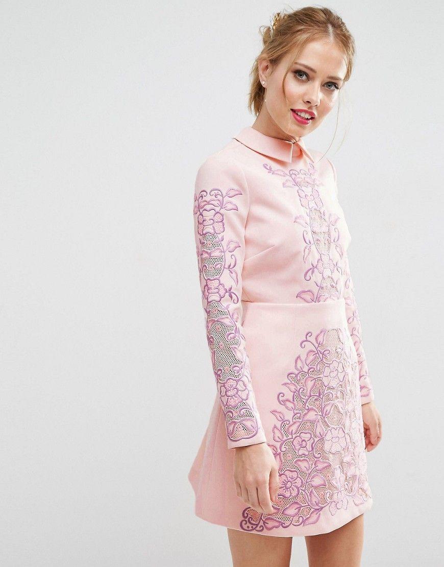 32d8a870b30b ASOS SALON Cutwork Scallop Back Aline Mini Dress - Pink | Short ...
