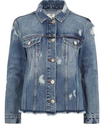 a3e54cfc7e River Island Womens Petite mid blue oversized denim jacket. River Island Womens  Petite mid blue oversized denim jacket Winter Jackets ...