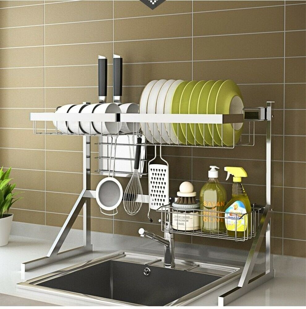 Stainless Steel Drying Sink Rack Drain Kitchen Supplies 2 Layer