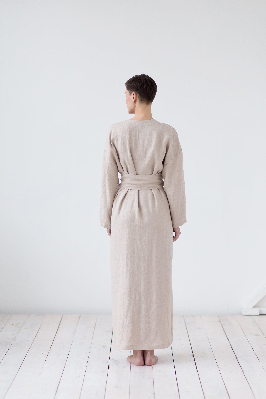 Full Length Linen Dressing Gown Linen Bathrobe. Long Linen Robe Linen Robe with Pockets Linen Robe