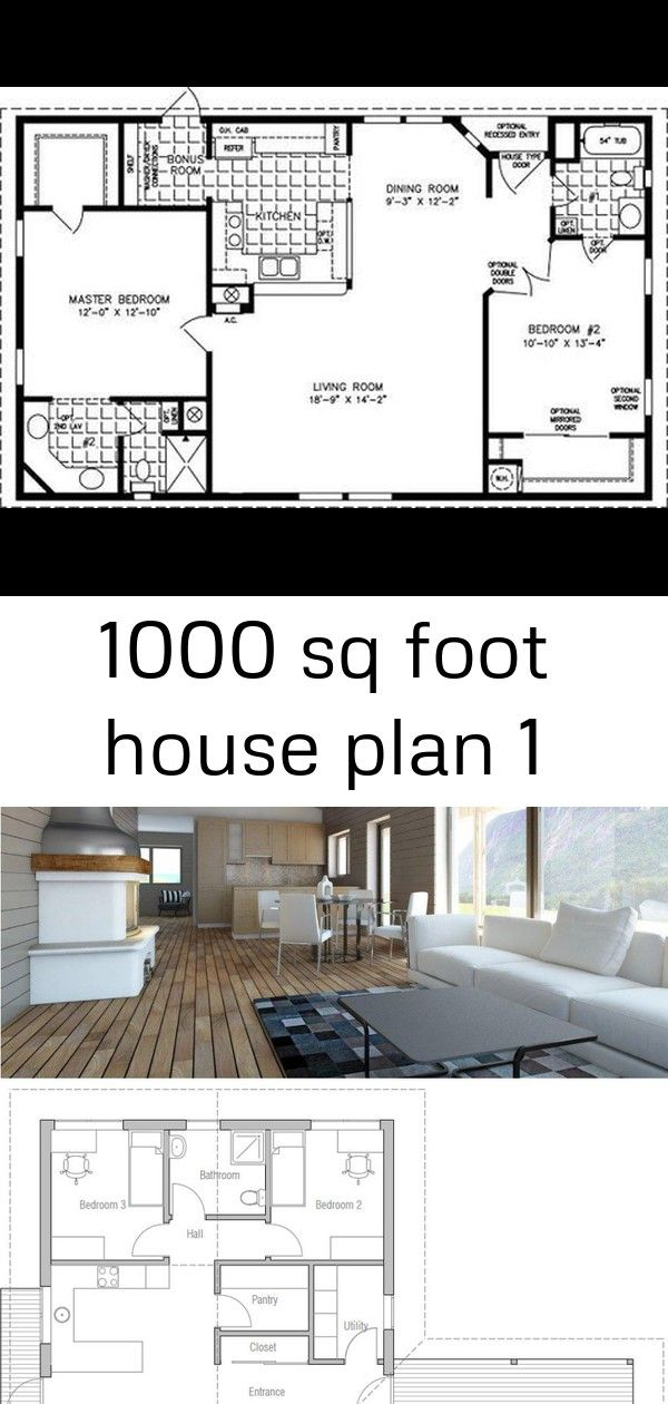 1000 sq foot house plan 1 House plans, Manufactured