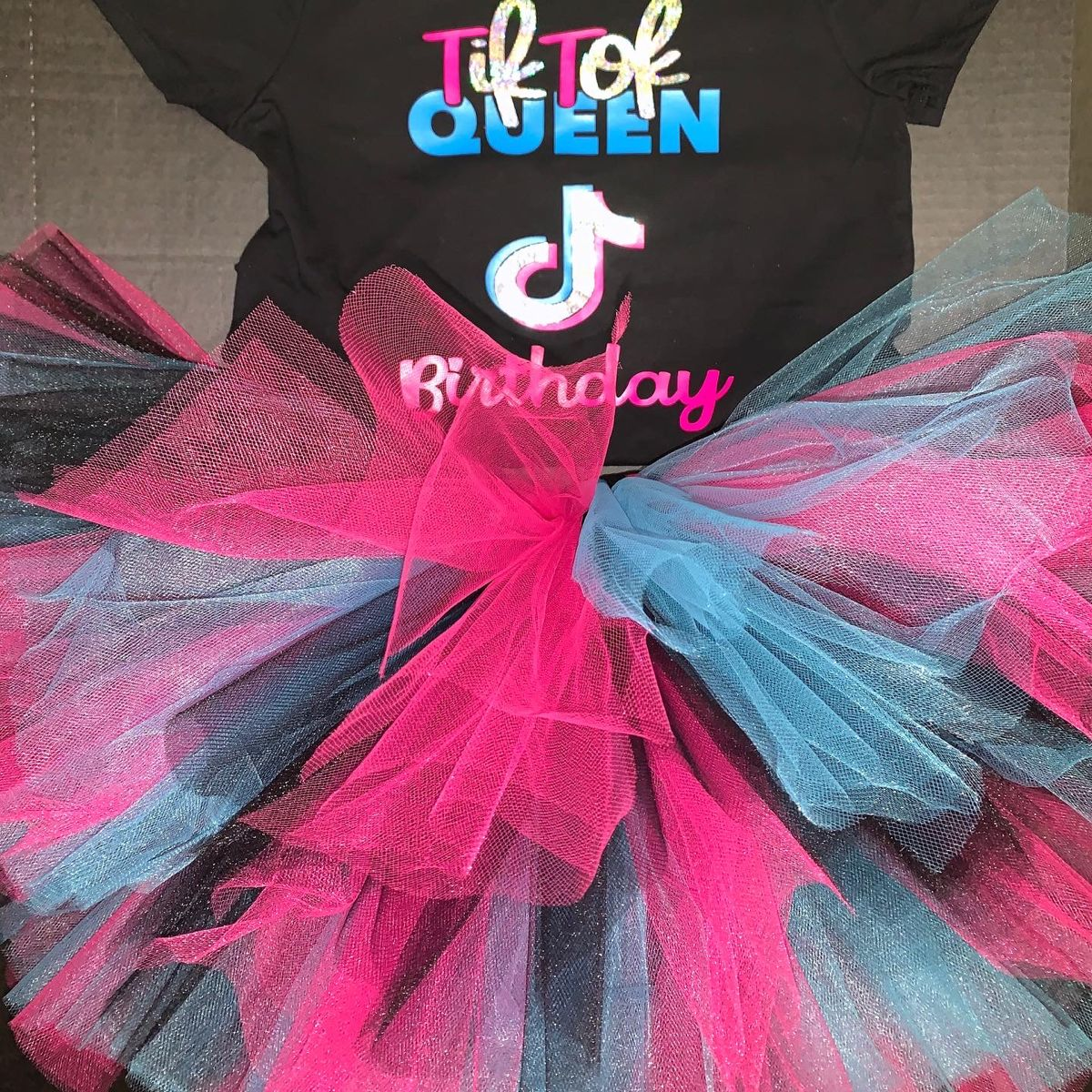 Tik Tok Inspired Birthday Tutu Set In Hot Pink Turquoise And Black Girl Bday Party Dance Party Birthday Tutu Outfits