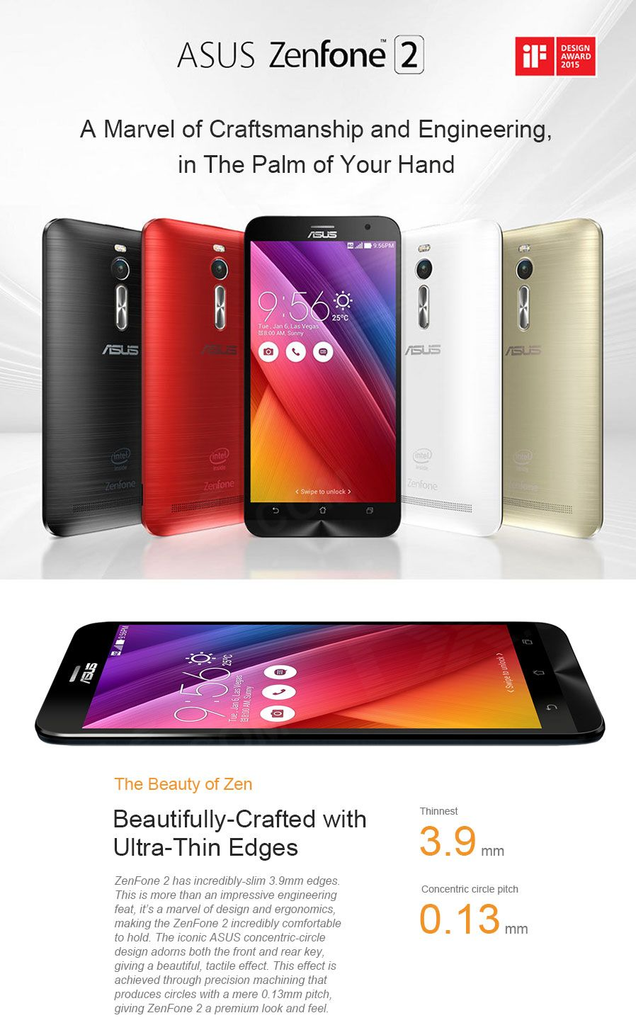 "ASUS ZenFone 2 ZE551ML Intel Z3560 Android 5.0 Quad-Core 4G LTE Phone w/ 5.5""IPS,NFC,OTG-Silver - Free Shipping - DealExtreme"