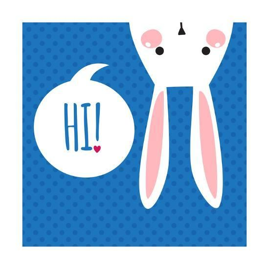 Greeting Card with with White Easter Rabbit. Funny Bunny. Easter Bunny. Art Print by Inoka | Art.com