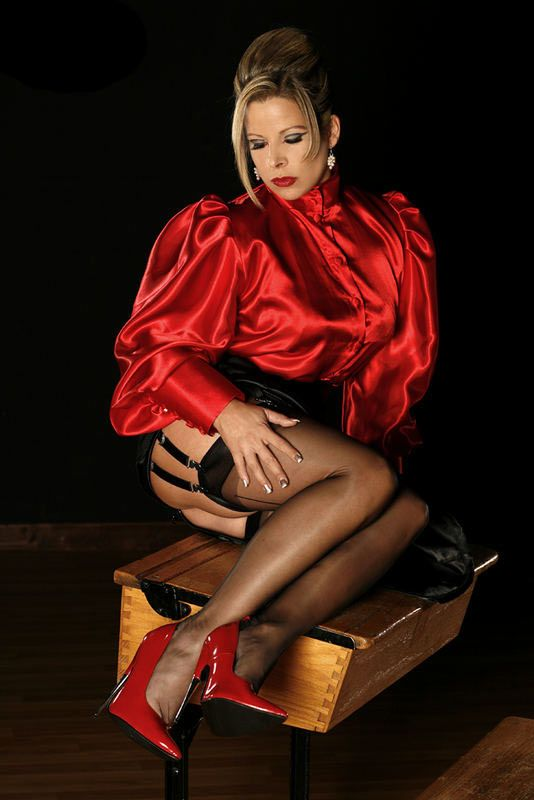 Headmistress  Satin Blouses, Beautiful Blouses, Fashion-8805